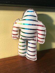 Rainbow Foil White Wool Felt Golem/et #1