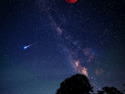 a red moon high in the sky, a comet and stars with slightly saturated colors is also in the late night sky