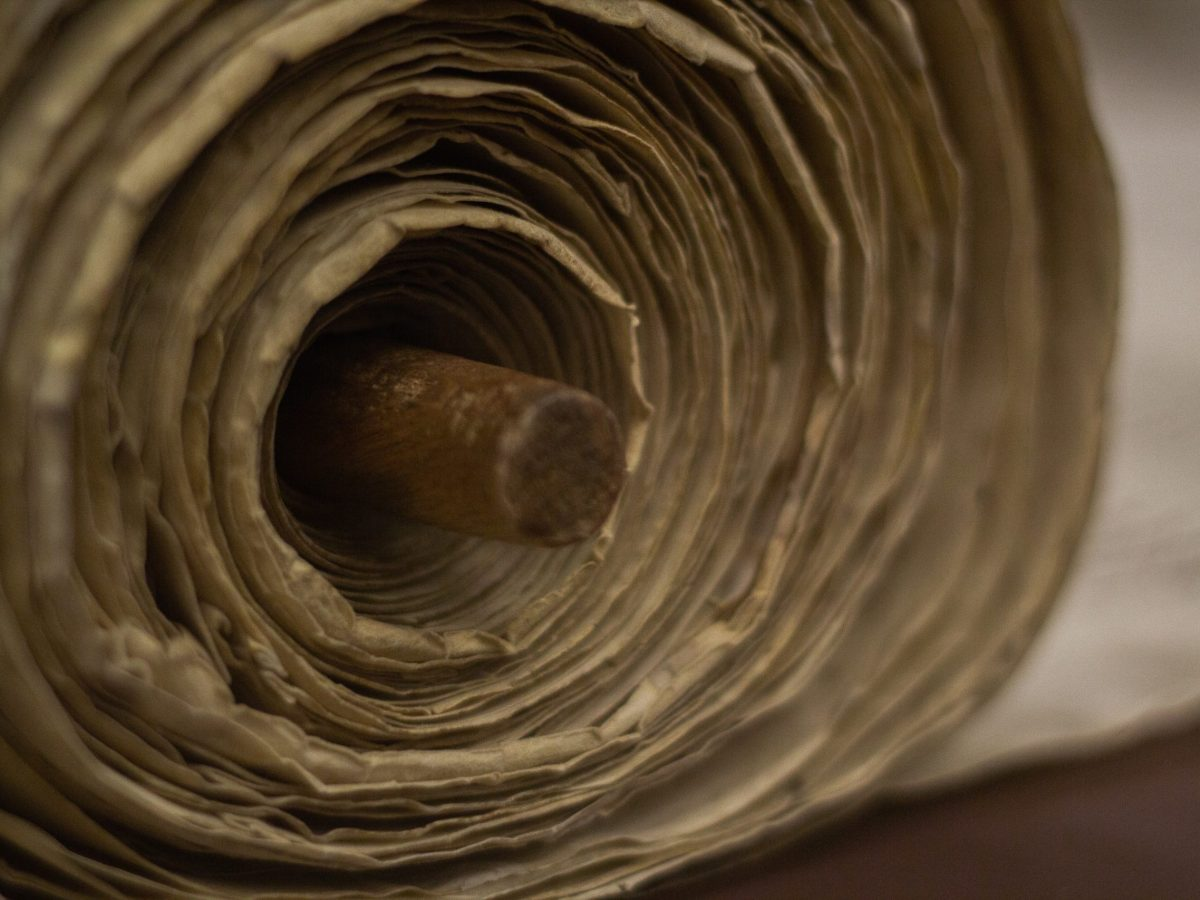 Close up of a Torah scroll rolled up