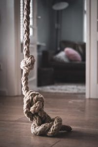 A close up on a complicated rope knot
