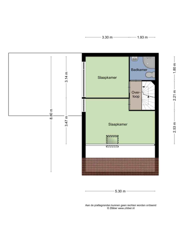 Plattegrond eerste verdieping Mekongstraat 21
