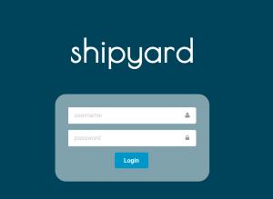 Shipyard login screen