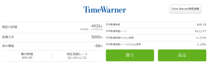 One Tap BUY【2017年5月】Time Warrner