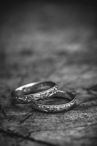 Classic Black and White photo of wedding rings