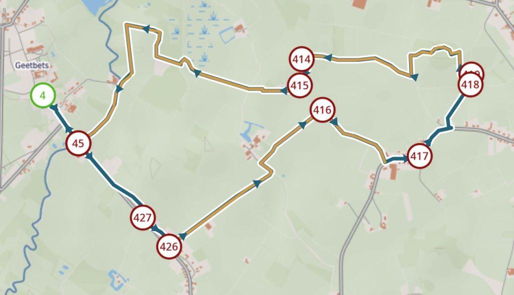 Wandeling in de Getevallei - Geetbets - kaart wandelknooppunten