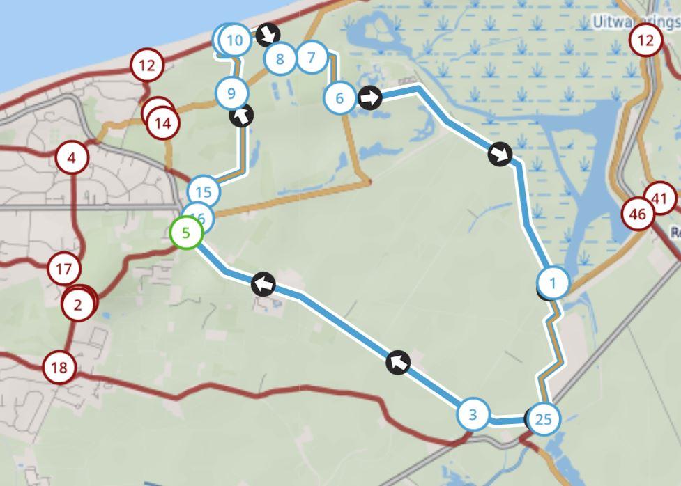 Kaart wandelknooppunten Het Zwin