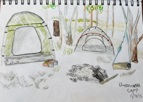 Umbrawarra Camp sketch - By Lindy