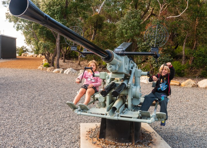There was no explanation as to why these guns were there, but they were and the kids enjoyed them.