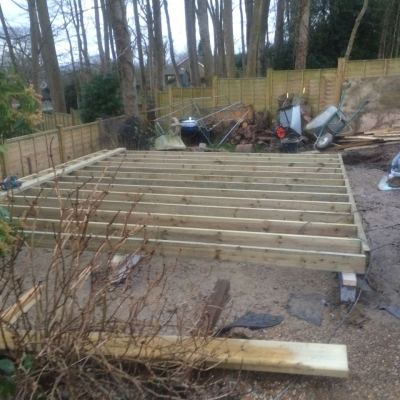 Foundation and floor structure of garden room, Littlewood, Sussex