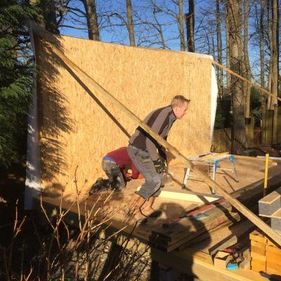 Start of construction of garden building, Littlewood, Sussex