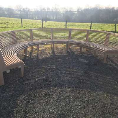 Curved steam bent bench, East Sussex