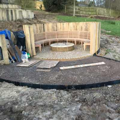 Amphitheatre with fire bowl plinth, Rotherhurst, near Tunbridge Wells