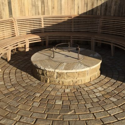 Steam bent bench in amphitheatre, Rotherhurst, near Tunbridge Wells