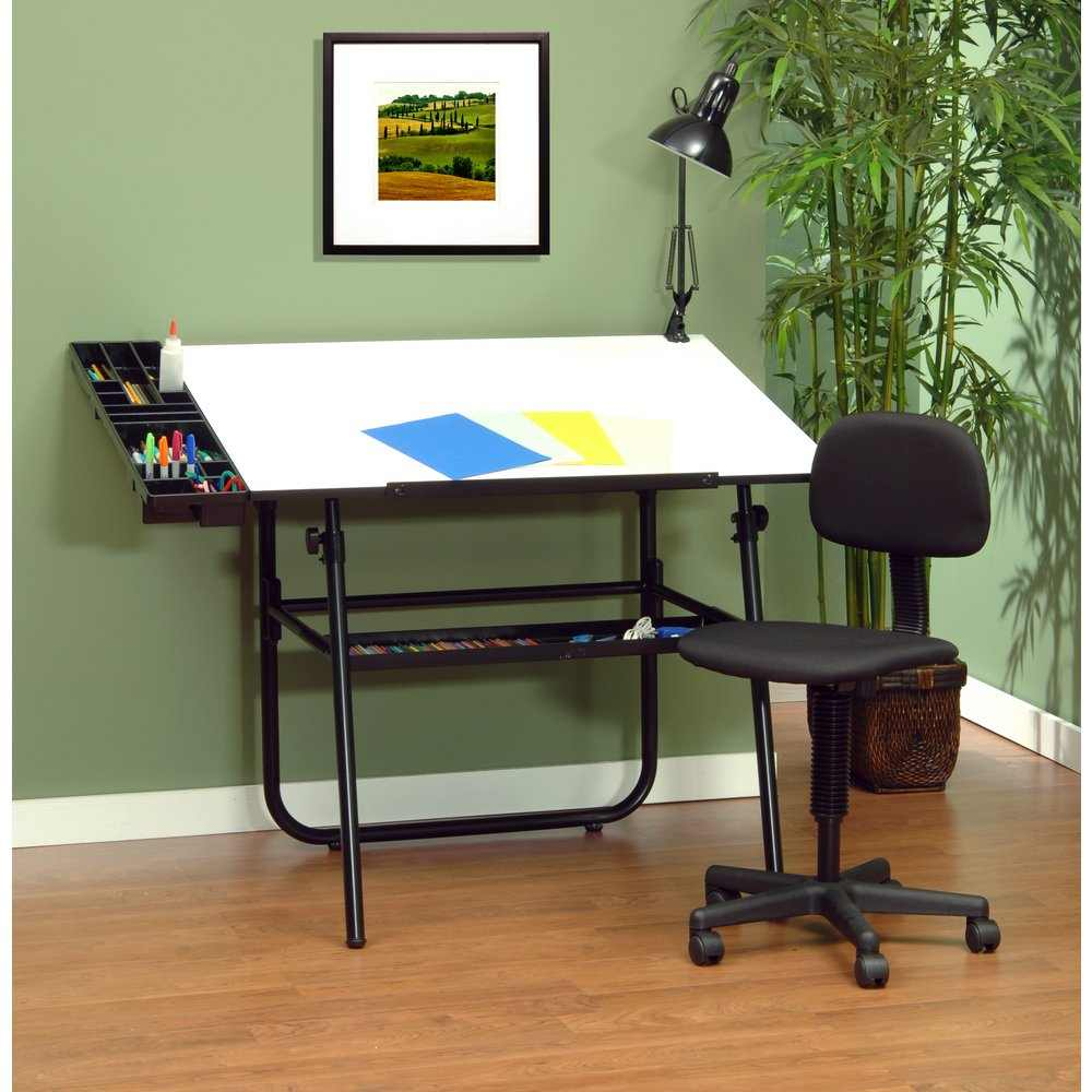 drafting table chairs mexican dining room studio designs 4 piece 30 x 42 ultima set base desk in black