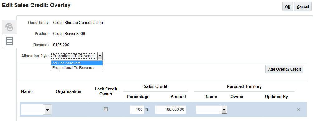 Overlay Sales Credits