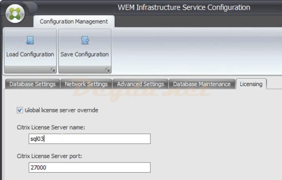 WEM Infrastructure Service Configuration Licensing