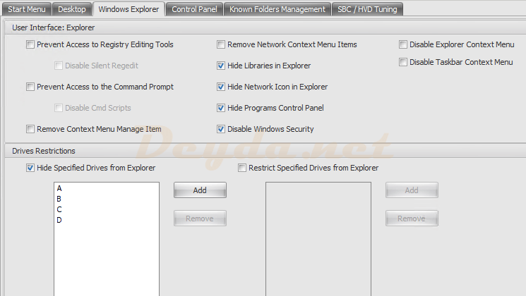 Policies and Profiles Environmental Settings Windows Explorer