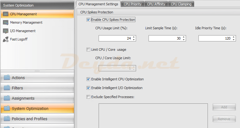 System Optimization CPU Management CPU Management Settings