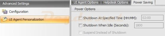 Advanced Settings Configuring UI Agent Personalization UI Power Saving