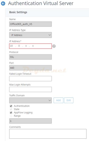 Create Authentication Virtual Server