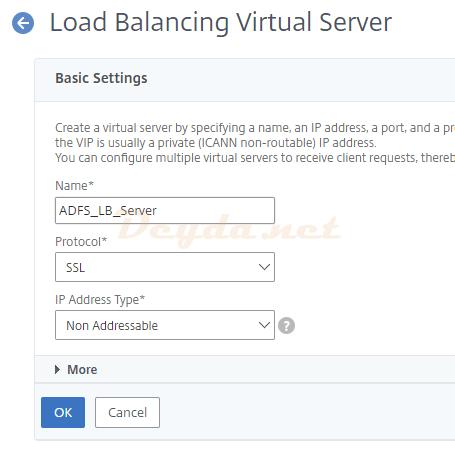 Load Balancing Virtual Server Basic Settings