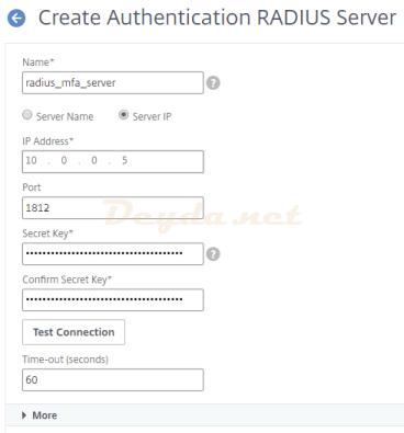 Create Authentication RADIUS Server