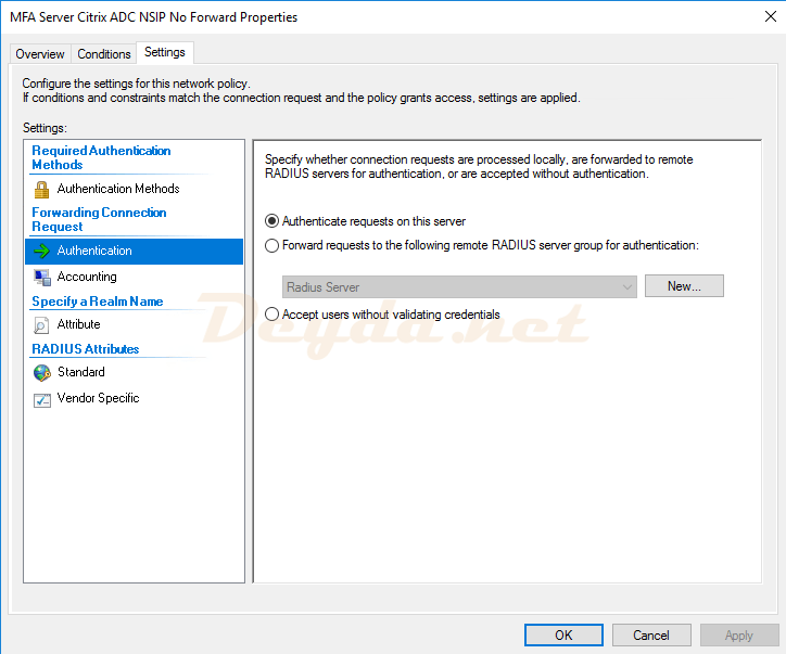 Connection Request Policies Settings Authentication