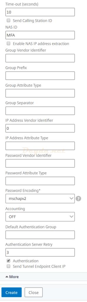 Authentication RADIUS Server