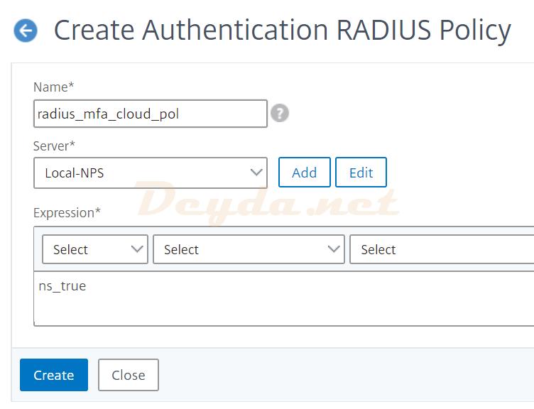 Authentication RADIUS Policy