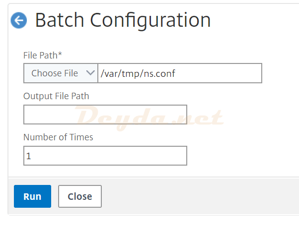 Batch Configuration Run