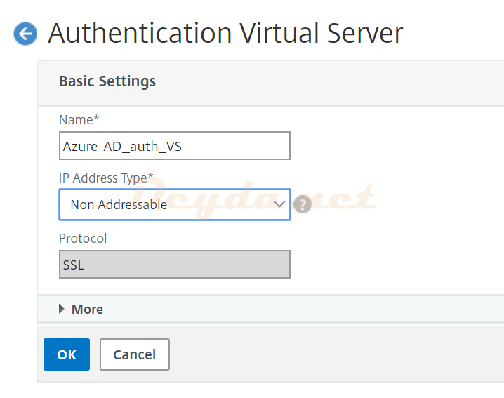 Authentication Virtual Server Basic Settings Non Addressable