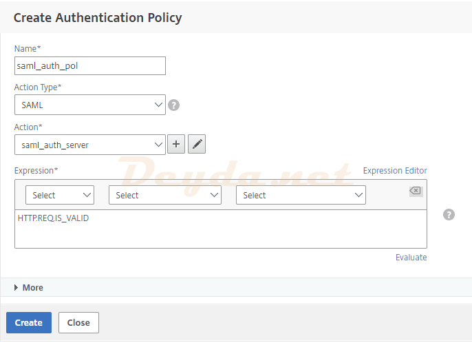 SAML Authentication SAML Server Advanced Authentication Policies Authentication Action
