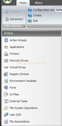 Actions Action Groups Applications Printers Network Drives Virtual Drives Registry Entries Environment Variables Ports Ini Files External Tasks File System Operations User DSN File Associations
