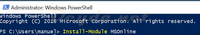 Install-Module MSOnline