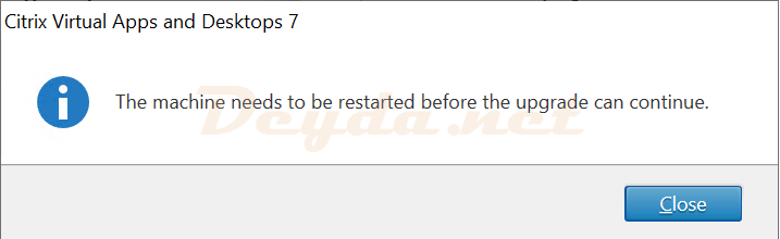 The machine needs to be restarted before the upgrade can continue