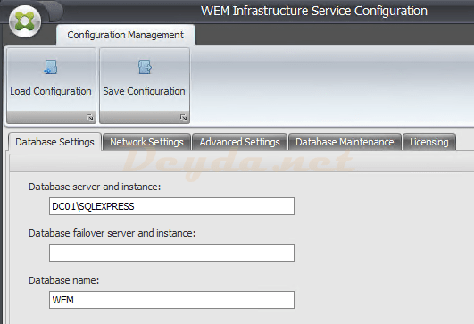 WEM Infrastructure Service Configuration