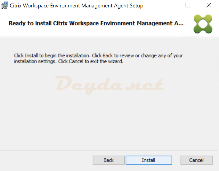 Ready to install Citrix Workspace Environment Management Agent