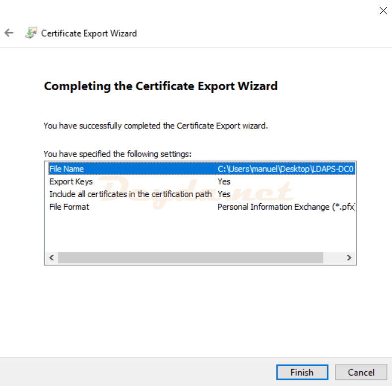 Certificate Export Wizard Completing