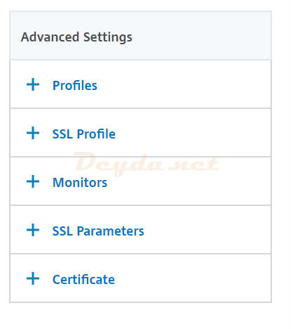 Load Balancing Service Group Advanced Settings Monitors