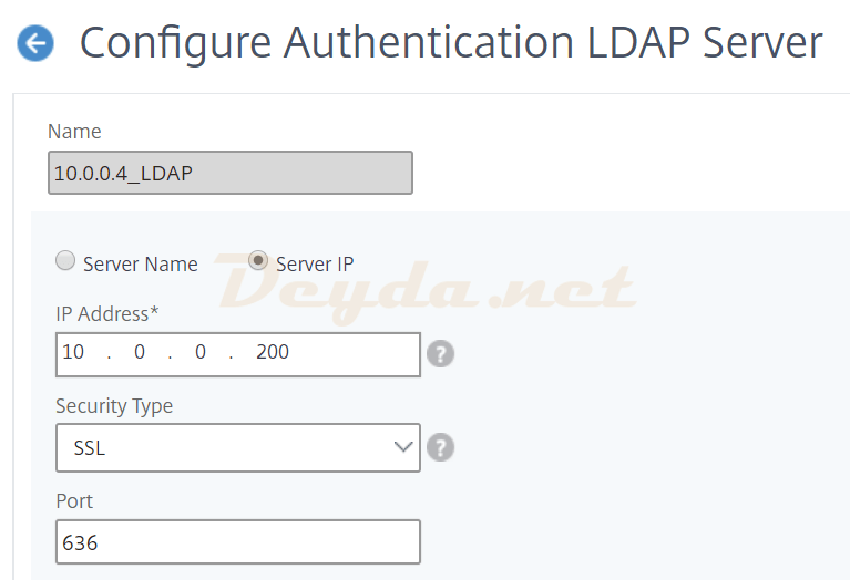 Authentication LDAP Server Configure