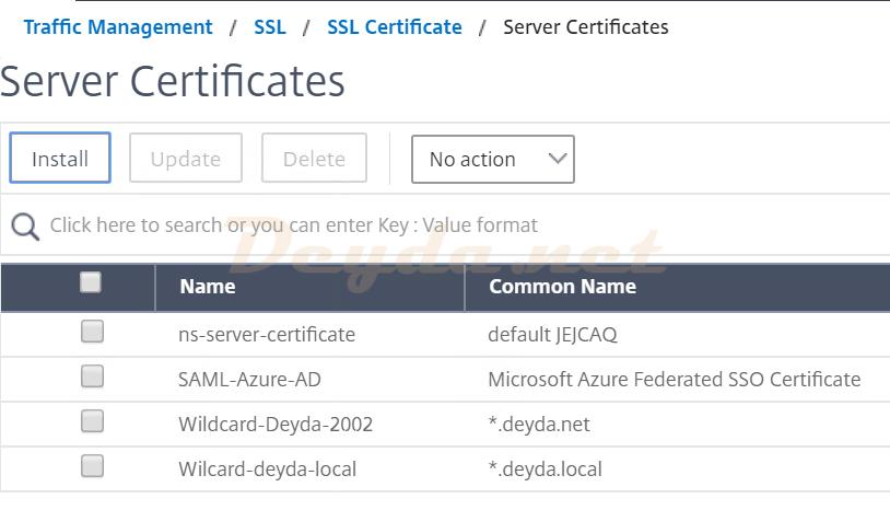 Traffic Management SSL SSL Certificate Server Certificates