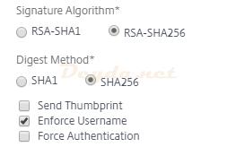 SAML Authentication SAML Server Advanced More Signature Algorithm Digest Method