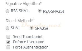 SAML Authentication SAML Server Advanced More Signature Algorithm Digest Method