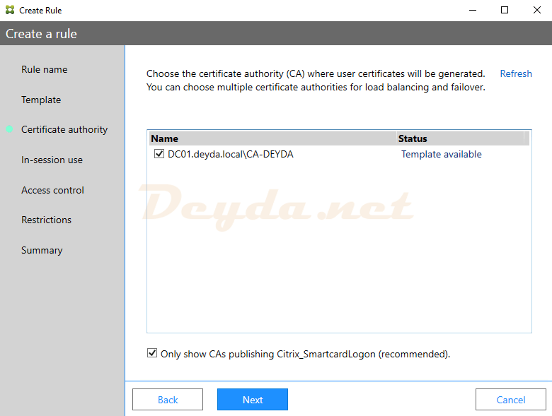 Create a rule fas Certificate Authority CA