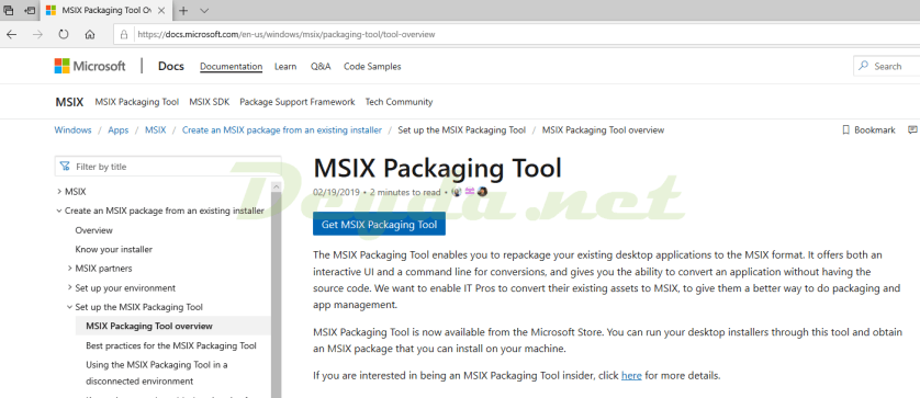Download MSIX Packaging Tool