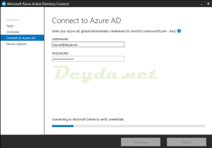 Connecting to Microsoft Online to verify credentials