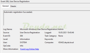 Event 306 User Device Registration Automatic registration Succeeded