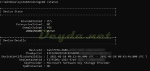 dsregcmd /status Device State Device Details