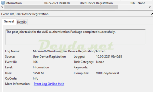 Event Id 106 The post join tasks for the AAD Authentication Package completed successfully