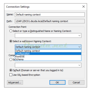 Select a well known Naming Context Configuration